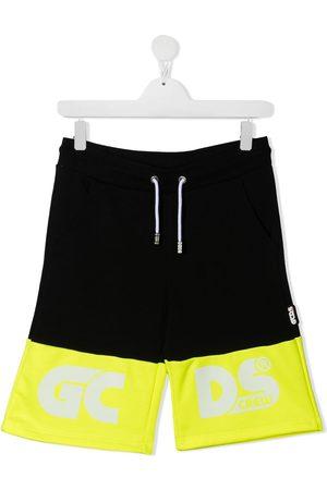 GCDS TEEN colour-block cotton track shorts