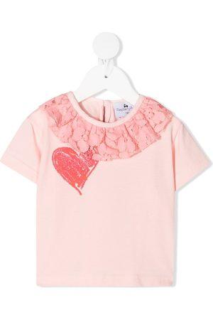 RASPBERRY PLUM Lace ruffle-collar T-shirt