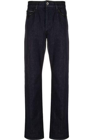 Salvatore Ferragamo Heren Straight - Leather-trim straight-leg jeans