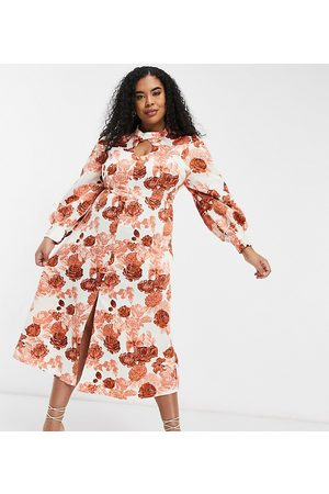 Glamorous High neck midi tea dress in rose floral-Cream