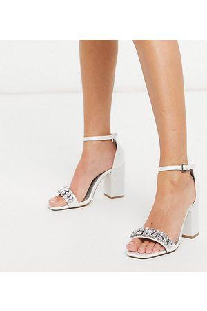 London Rebel Wide fit embellished bridal block heel sandal in ivory-White