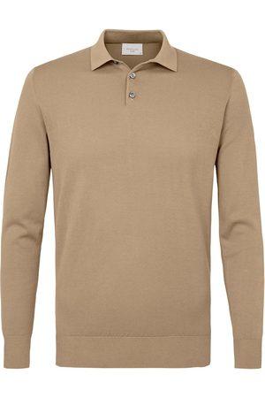Profuomo Heren Poloshirts - Heren taupe lange mouw polo
