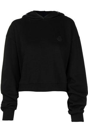 Moncler Cropped logo print hoodie