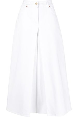 Valentino Dames Bootcut - Logo plaque-detail layered wide-leg jeans