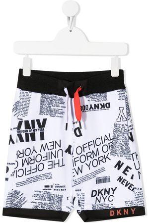 Dkny Kids Jongens Bermuda's - All-over logo print bermuda shorts