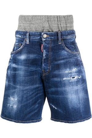 Dsquared2 Heren Shorts - Double waistband distressed denim shorts