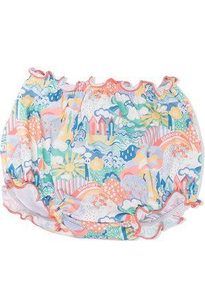 Bonpoint Meisjes Tankini's - Beach-print ruffled swim bottoms