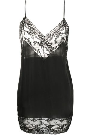 Saint Laurent Dames Feestjurken - Lace-trim silk slip dress