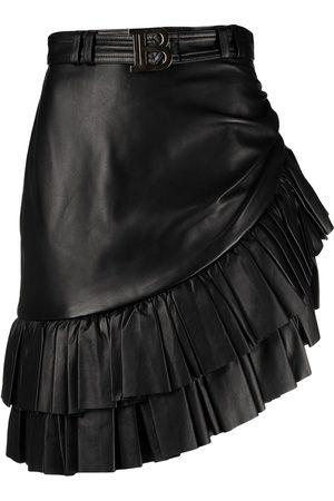 Balmain Dames Korte rokken - Short asymmetric ruffled leather skirt