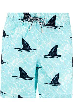 Mc2 Saint Barth Heren Shorts - Shark-print elasticated-waist swim shorts