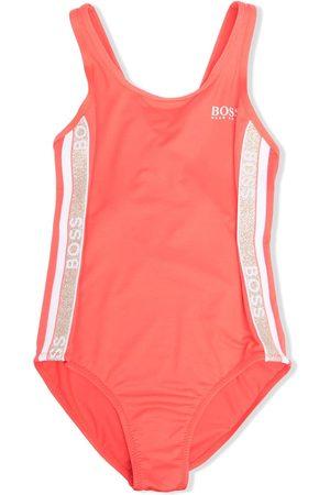 BOSS Kidswear Meisjes Badpakken - Logo-tape one-piece swimsuit
