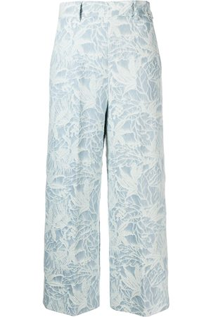 MSGM Floral jacquard cropped trousers