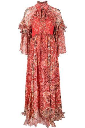 Etro Paisley-print ruffle silk dress