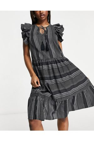 Accessorize Statement shoulder beach dress in black