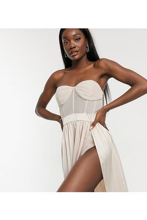Jaded Rose Tall Corset detail midaxi dress in champagne-Cream