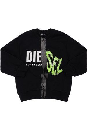 DIESEL KIDS Logo Print Cotton Sweatshirt
