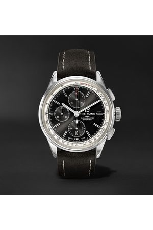 Breitling Heren Horloges - Premier Automatic Chronograph 42mm Stainless Steel and Nubuck Watch, Ref. No. A13315351B1X1