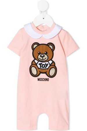 Moschino Kids Teddy bear embroidered romper