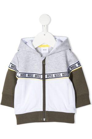 BOSS Kidswear Logo-trim colour-block zip-up hoodie