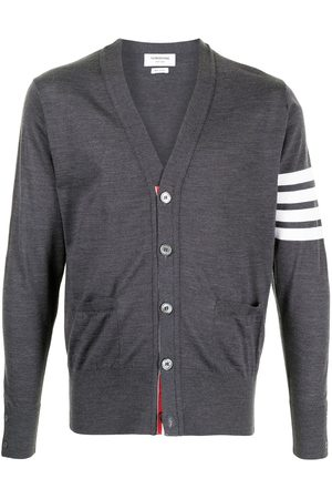 Thom Browne V-Neck Cardigan With 4-Bar Stripe In Dark Merino