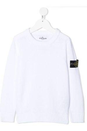 Stone Island Junior Logo-patch cotton jumper