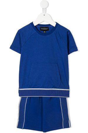 Emporio Armani Kids Logo tape cotton T-shirt shorts set