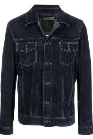 Philipp Plein Contrast-stitch suede jacket