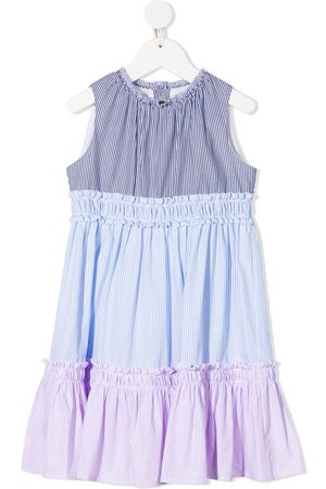Il Gufo Stripe-print tiered dress