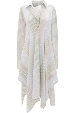 adidas Stripe-pattern asymmetric shirtdress