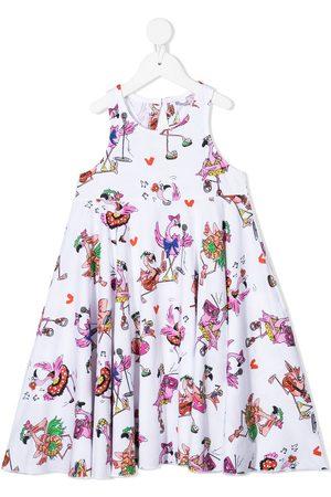adidas Flamingo print flared dress