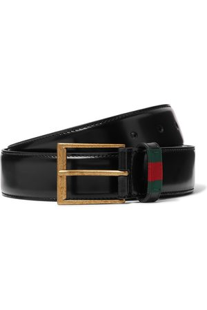 adidas Heren Riemen - 3.5cm Webbing-Trimmed Polished-Leather Belt
