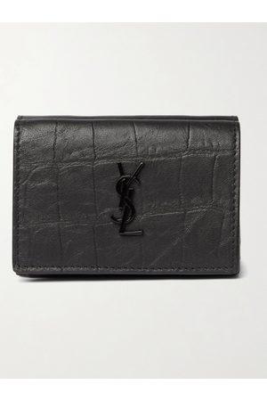 adidas Heren Portemonnees - Logo-Appliquéd Croc-Effect Leather Trifold Wallet
