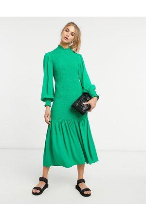 adidas Dinah shirred dress in green