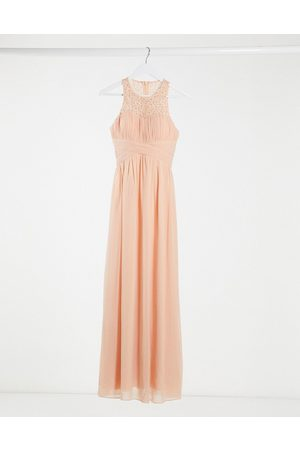 Little Mistress Bridesmaid lace detail maxi dress in peach-Pink