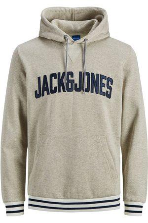 Jack & Jones Logo Kangaroo Pocket Hoodie Heren Grijs