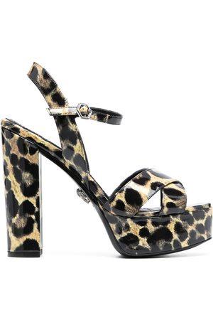 Philipp Plein Patent platform leopard print sandals