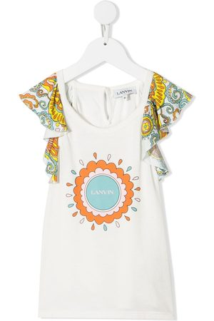 Lanvin Meisjes T-shirts - Ruffled-sleeve modal-blend top