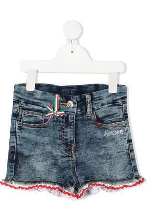 MONNALISA Lace-trimmed denim shorts