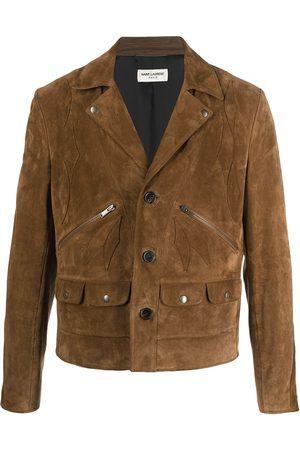 Saint Laurent Single-breasted suede jacket