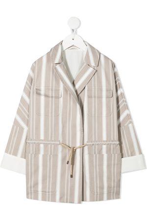 Brunello Cucinelli Striped tie-waist jacket