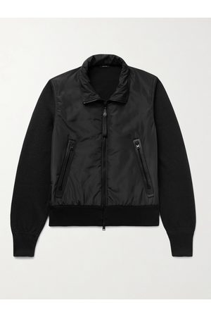 Tom Ford Heren Wollen jassen - Leather-Trimmed Wool and Shell Blouson Jacket