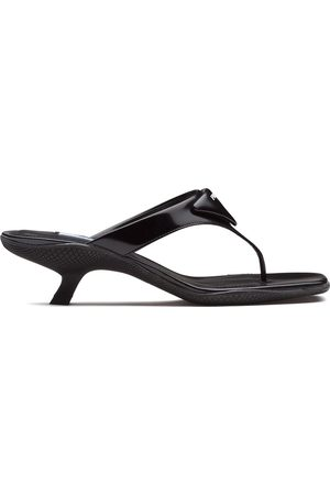 Prada Logo plaque thong sandals