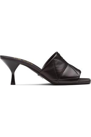 Prada Dames Clogs - Quilted logo plaque mid-heel mules