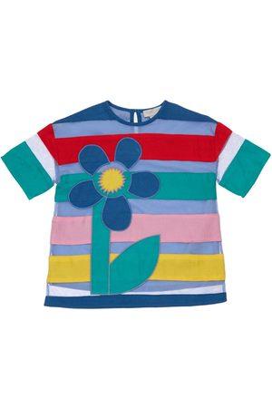 Stella McCartney Meisjes Geprinte jurken - Striped Tulle Dress W/flower Patch