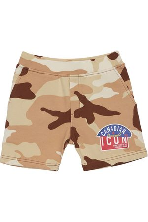 Dsquared2 Jongens Sport - Camouflage Print Cotton Sweat Shorts