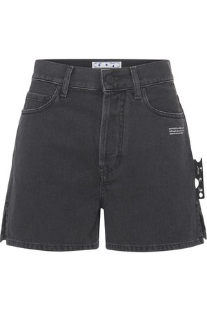 OFF-WHITE Dames Shorts - High Waist Cotton Denim Shorts