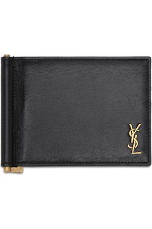 Saint Laurent Heren Portemonnees - Tiny Monogram Leather Bill Clip Wallet