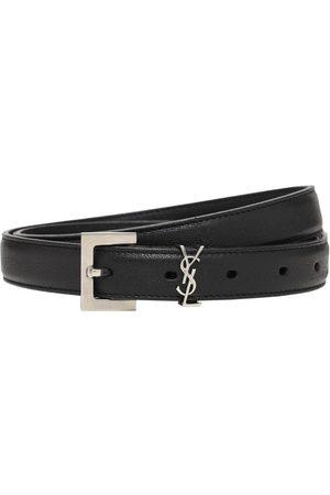 Saint Laurent Heren Riemen - 2cm Monogram Smooth Leather Belt