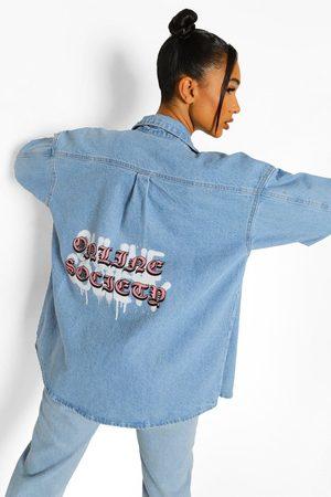Boohoo Oversized Spijkerblouse Met Rugopdruk