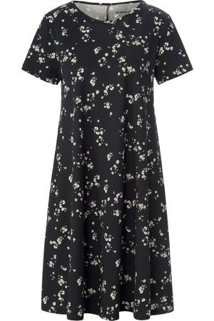 Green Cotton Dames Geprinte jurken - Jerseyjurk 100% katoen bloemenprint Van